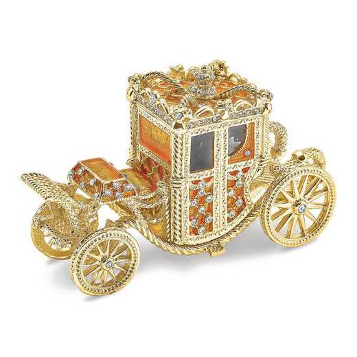 BJ4078: Bejeweled IMPERIAL Golden Carriage Trinket Box