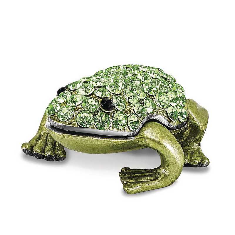 BJ4095: Bejeweled HOPPER Small Green Frog Trinket Box