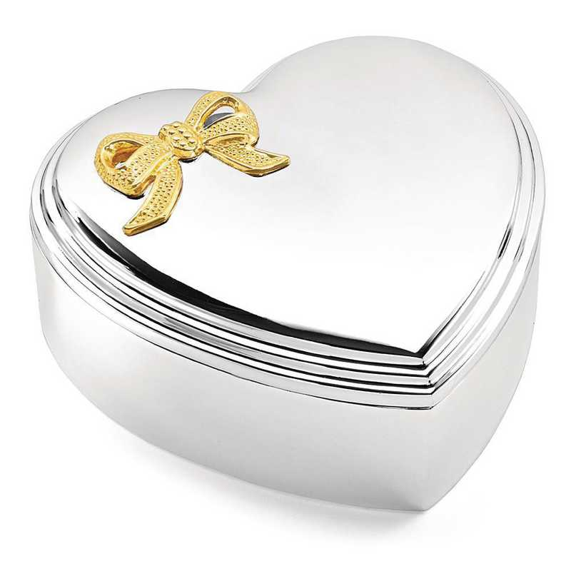 GP3585: Silver-plated Gold-tone Bow Lift-off Lid Heart Jewelry Box