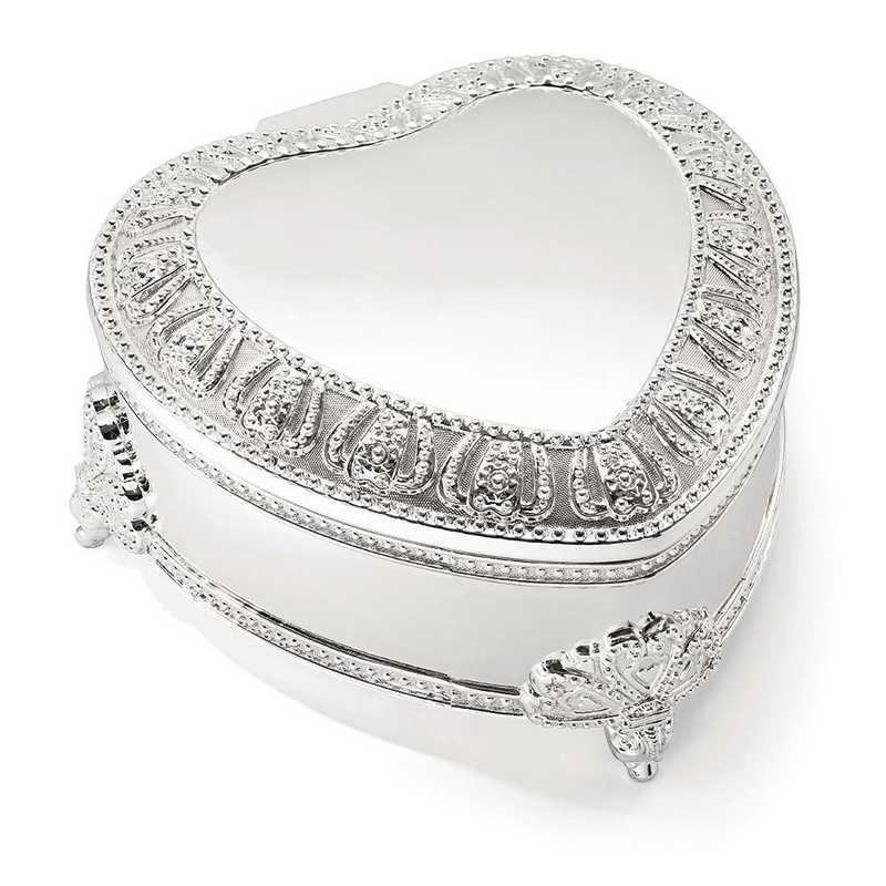 GP3598: Silver-plated Hinged Lid Heart Jewelry Box