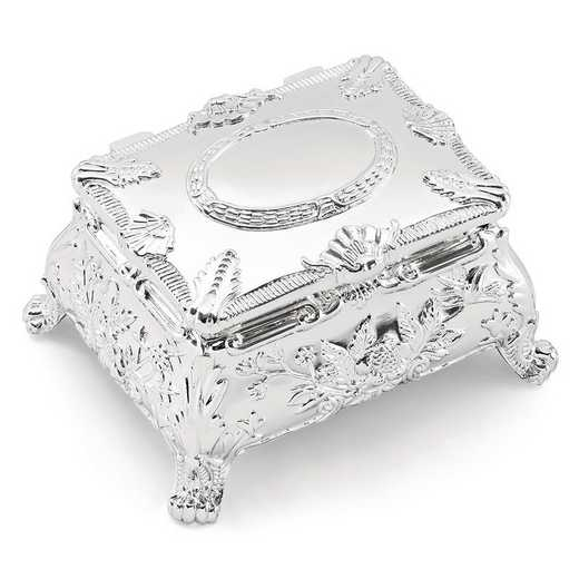 GP3661: Silver-plated Floral Jewelry Box