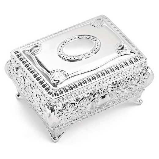 GP3665: Silver-plated Floral Jewelry Box