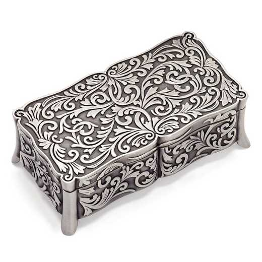 GP3697: Pewter-tone Finish Floral Rectangle Jewelry Box