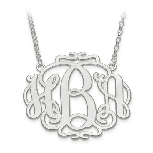XNA556SS: 925 Laser Polished Scroll Monogram Plate With Chain