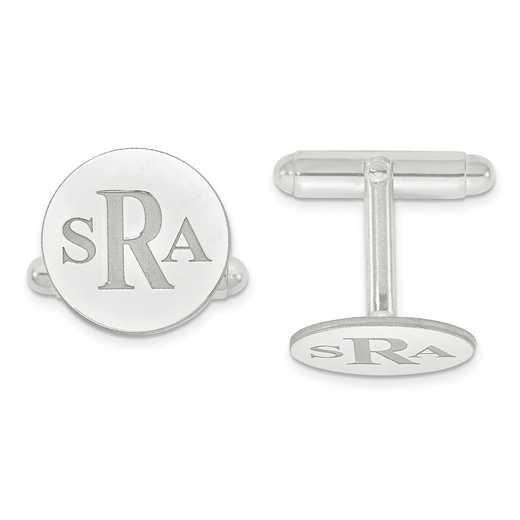 XNA617SS: 925 Recessed Letters Circle Monogram Cuff Links