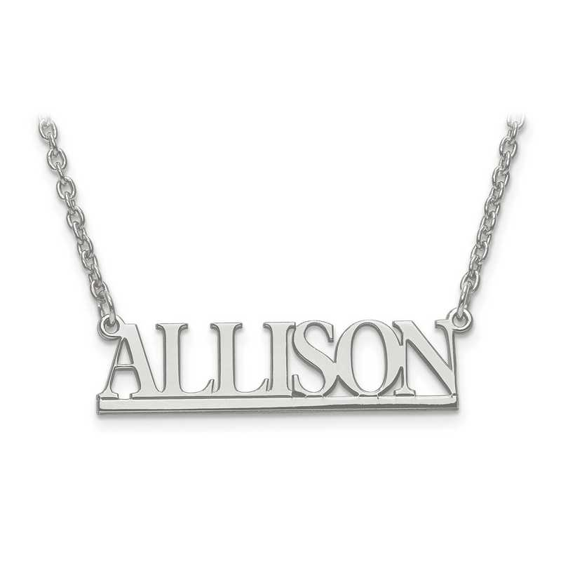 XNA629SS: 925 Small Laser Polished Nameplate w/ Chain