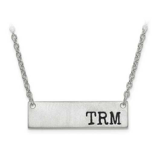 XNA646SS: 925 Brushed Antiqued Initial Monogram Bar w/ Chain