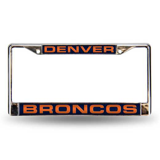 FCL1601: NFL FCL Chrome Lsr License Frame Broncos
