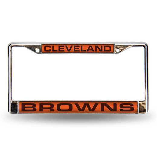 FCL2801: NFL FCL Chrome Lsr License Frame Browns
