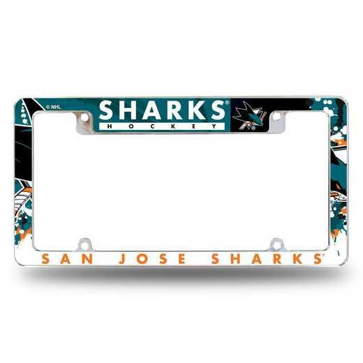 AFC9101T: SHARKS ALL OVER CHROME FRAME