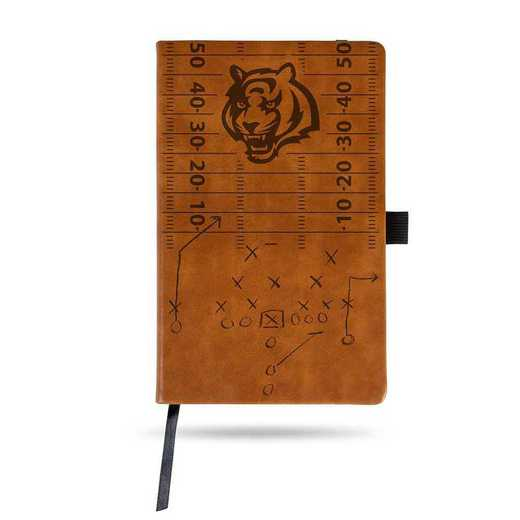 LESPD3201BR: BENGALS LASER ENGRAVED BROWN NOTEPAD WITH ELASTIC BAND