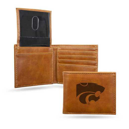 LEBIL310201BR: Kansas State Laser Engraved Brown Billfold Wallet