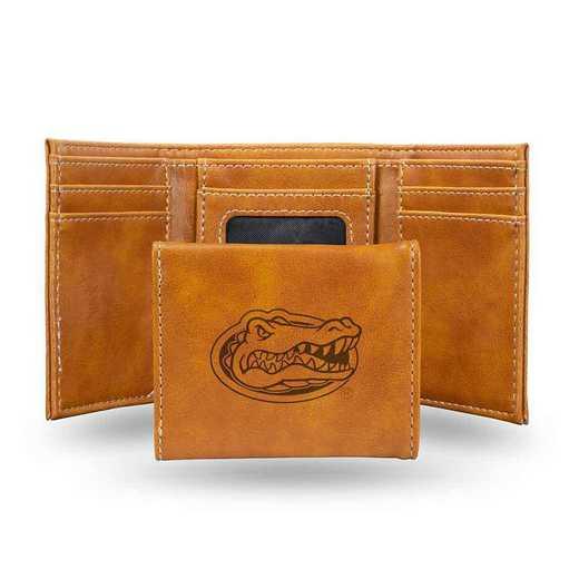 LETRI100101BR: Florida Laser Engraved Brown Trifold Wallet