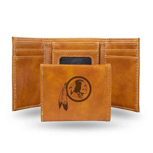 LETRI1001BR: Washington Redskins Laser Engraved Brown Trifold Wallet
