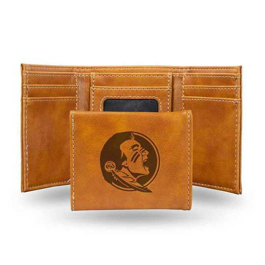 LETRI100201BR: Florida State Laser Engraved Brown Trifold Wallet