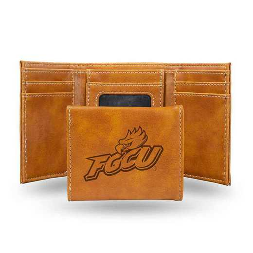 LETRI100801BR: Florida Gulf Coast Laser Engraved Brown Trifold Wallet