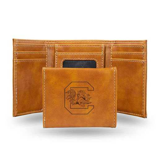 LETRI120101BR: South Carolina Laser Engraved Brown Trifold Wallet