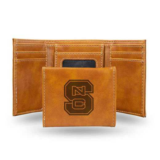 LETRI130201BR: North Carolina State Laser Engraved Brown Trifold Wallet