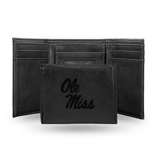 LETRI160201BK: Mississippi Laser Engraved Black Trifold Wallet