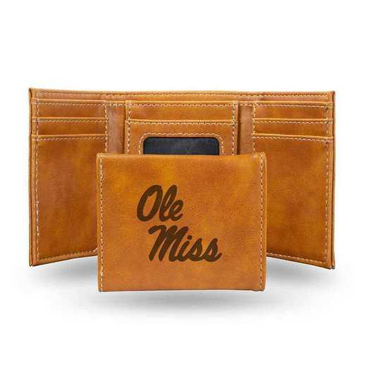 LETRI160201BR: Mississippi Laser Engraved Brown Trifold Wallet