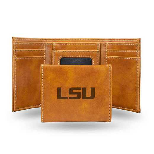 LETRI170101BR: Louisiana State Laser Engraved Brown Trifold Wallet