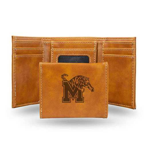 LETRI180801BR: Memphis Laser Engraved Brown Trifold Wallet