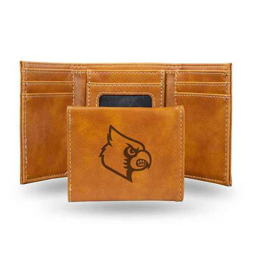 LETRI190001BR: Louisville Laser Engraved Brown Trifold Wallet