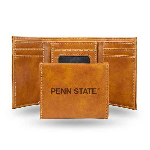 LETRI210201BR: Pennsylvania State Laser Engraved Brown Trifold Wallet