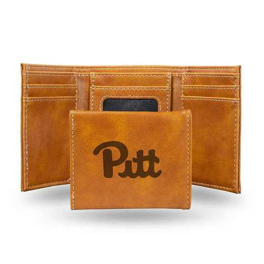 LETRI210401BR: Pittsburgh Laser Engraved Brown Trifold Wallet
