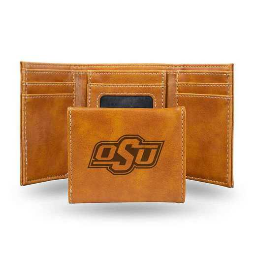 LETRI230001BR: Oklahoma State Laser Engraved Brown Trifold Wallet