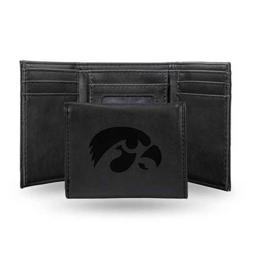 LETRI250101BK: Iowa Laser Engraved Black Trifold Wallet