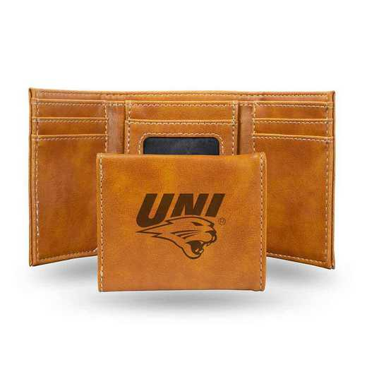 LETRI250301BR: Northern Iowa Laser Engraved Brown Trifold Wallet