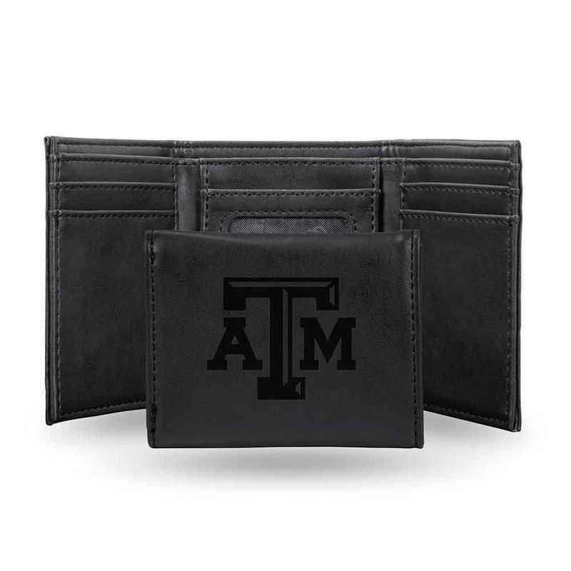 LETRI260201BK: Texas A&M Laser Engraved Black Trifold Wallet