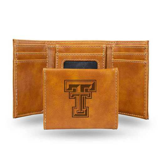 LETRI260801BR: Texas Tech Laser Engraved Brown Trifold Wallet