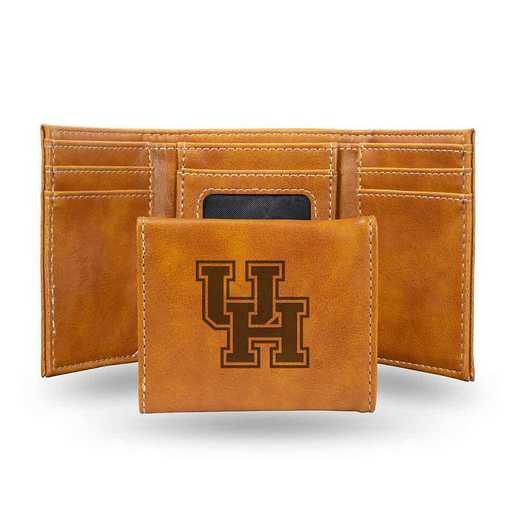 LETRI261301BR: Houston Laser Engraved Brown Trifold Wallet