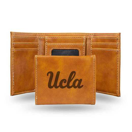 LETRI290201BR: California-Los Angeles Laser Engraved Brown Trifold Wallet