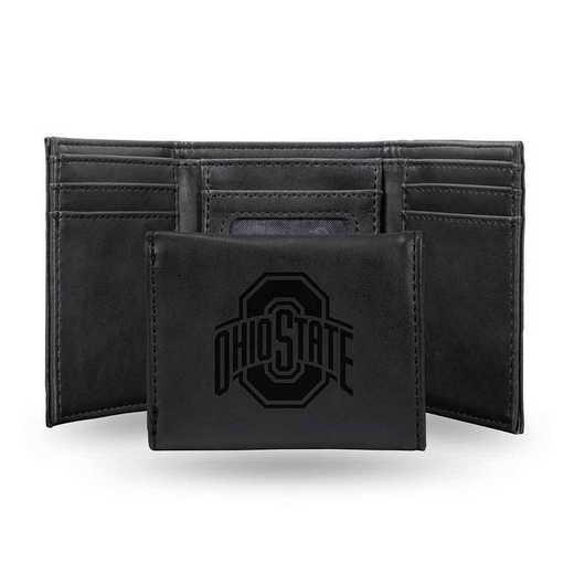 LETRI300101BK: Ohio State Laser Engraved Black Trifold Wallet Wallet