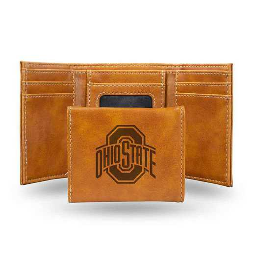 LETRI300101BR: Ohio State Laser Engraved Brown Trifold Wallet Wallet