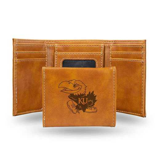 LETRI310101BR: Kansas Laser Engraved Brown Trifold Wallet