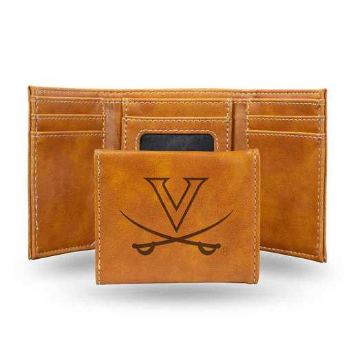 LETRI340101BR: Virginia Laser Engraved Brown Trifold Wallet