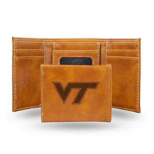 LETRI340201BR: Virginia Tech Laser Engraved Brown Trifold Wallet