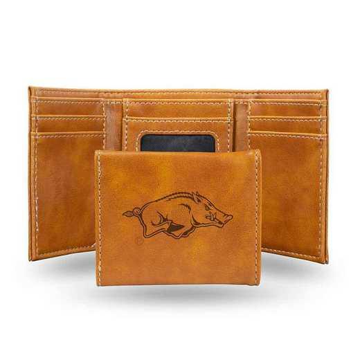 LETRI360101BR: Arkansas Laser Engraved Brown Trifold Wallet
