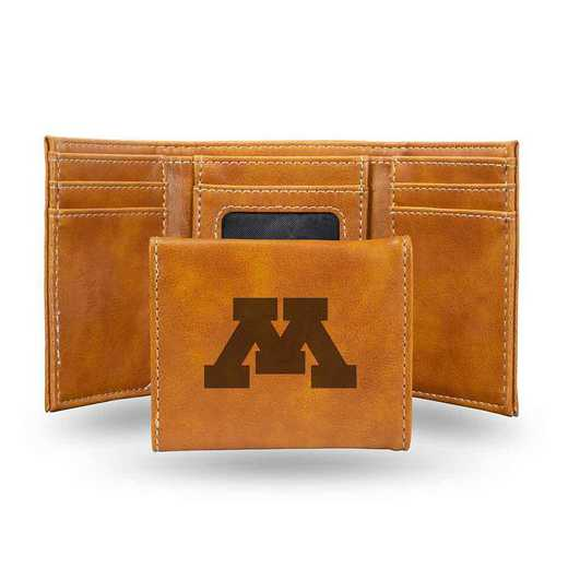 LETRI380101BR: Minnesota Laser Engraved Brown Trifold Wallet