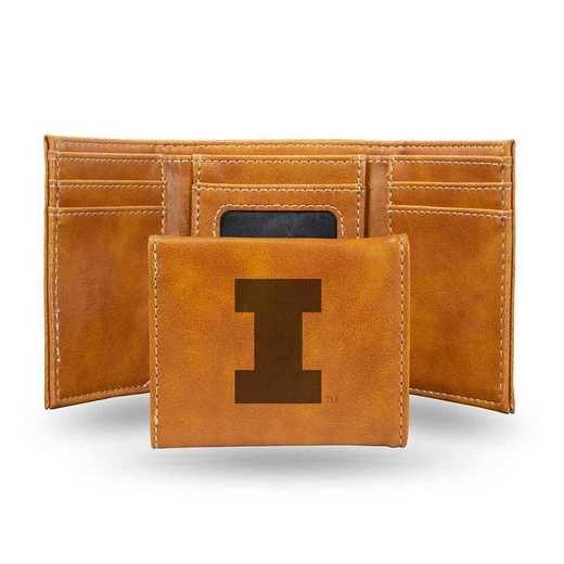 LETRI400101BR: Illinois Laser Engraved Brown Trifold Wallet