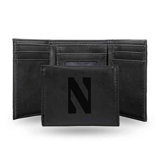 LETRI400201BK: Northwestern Laser Engraved Black Trifold Wallet