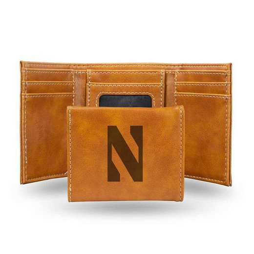 LETRI400201BR: Northwestern Laser Engraved Brown Trifold Wallet
