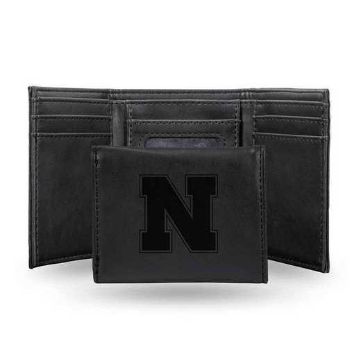 LETRI410101BK: Nebraska Laser Engraved Black Trifold Wallet