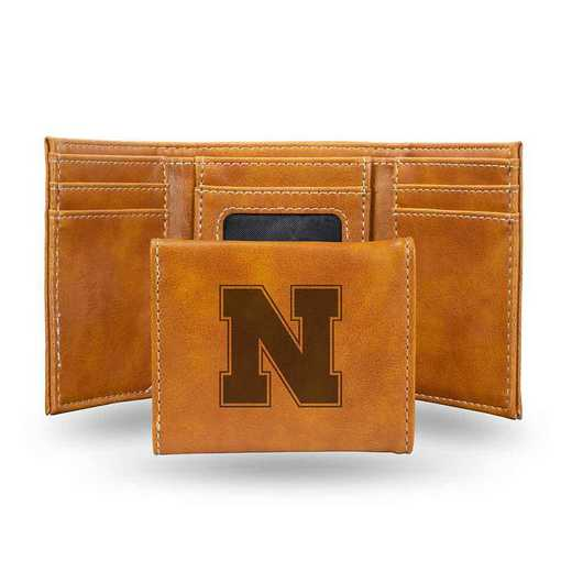 LETRI410101BR: Nebraska Laser Engraved Brown Trifold Wallet
