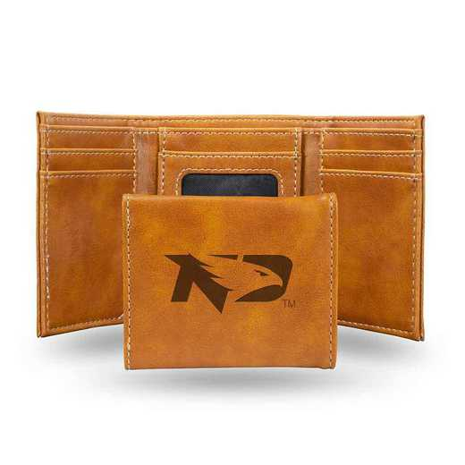 LETRI410601BR: North Dakota Laser Engraved Brown Trifold Wallet