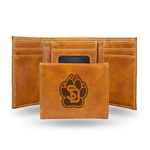 LETRI410801BR: South Dakota Laser Engraved Brown Trifold Wallet